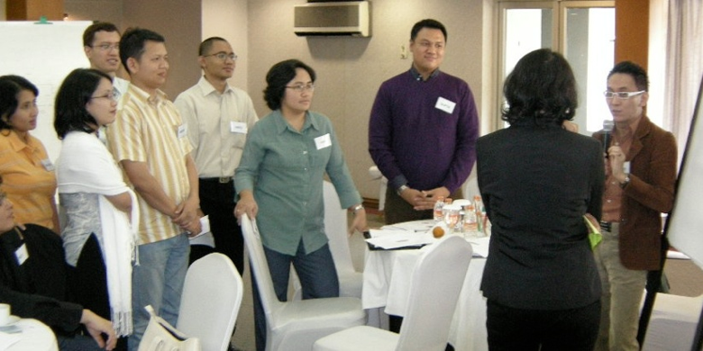 People undergoing a facilitated training from EngagingMinds